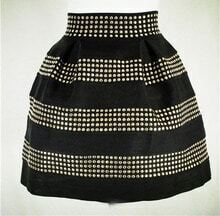 Black Rivet Ruffle Skirt