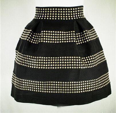 Black Rivet Ruffle Skirt