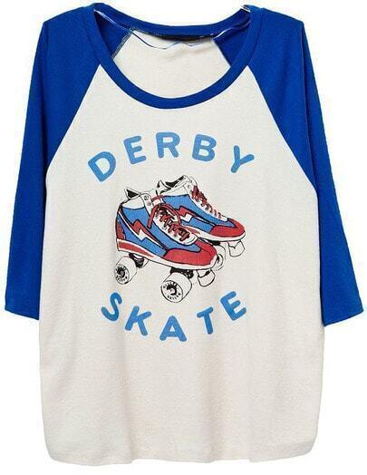 White Contrast Blue Roller Skates Print T-Shirt
