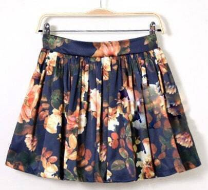 Navy Floral Pattern Ruffle Skirt
