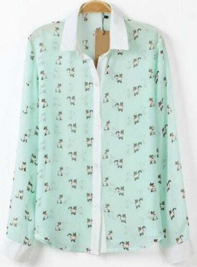 Green Lapel Long Sleeve Cats Print Slim Blouse