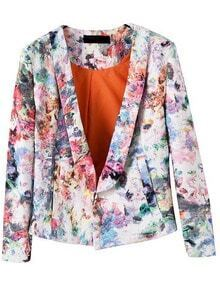 Multicolor Lapel Casual Floral Crop Blazer