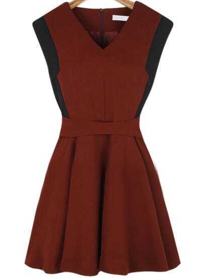 Wine Red V Neck Zipper Pleated Dress