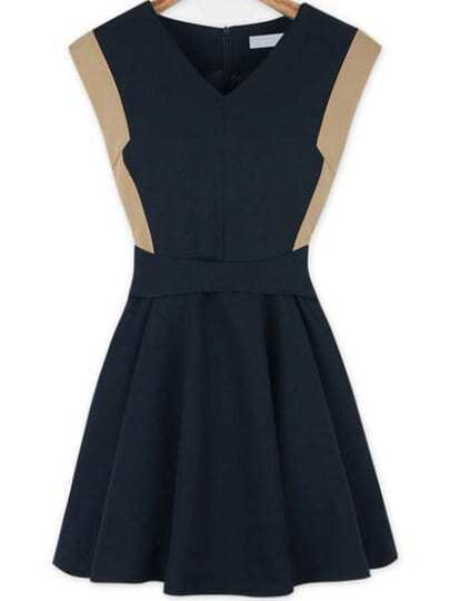 Navy V Neck Zipper Pleated Dress
