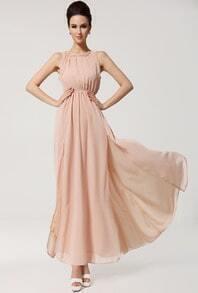 Pink Sleeveless Backless Split Chiffon Dress