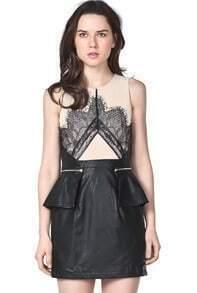 Black Sleeveless Eyelash Lace Contrast Leather Bodycon Dress