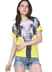 Yellow Short Sleeve Elephant Print T-Shirt
