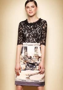Black Half Sleeve Lace Vintage Print Dress