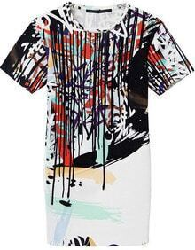 White Short Sleeve Abstract Graffiti Print Shift Dress