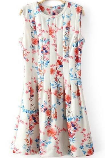 Ärmelloses kurzes Plissee Kleid mit Blumenmuster, weiß