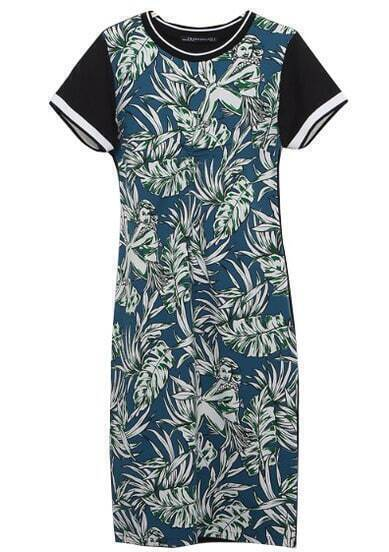 Black Short Sleeve with Green Leaf Print Midi Dress