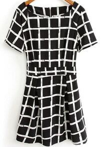 Black and White Short Sleeve Plaid Print Chiffon Dress