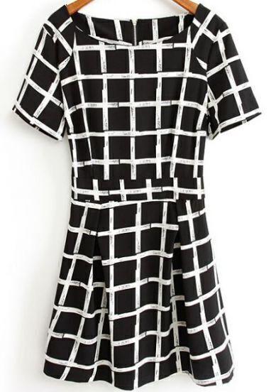 Black and White Short Sleeve Plaid Print Chiffon Dress