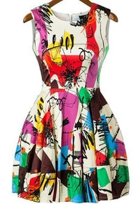 Multicolor Sleeveless Graffiti Print Flare Short Dress