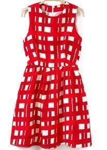 Red and White Sleeveless Plaid Print Short Dress