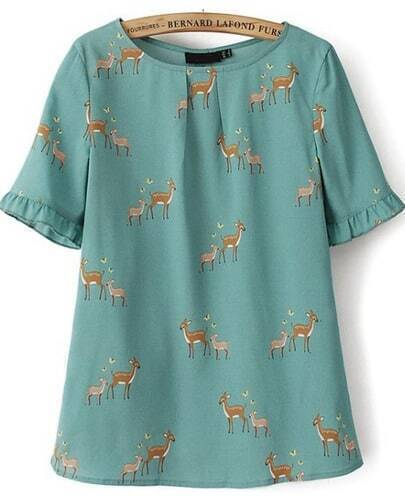 Green Short Sleeve Ruffle Hem Deers Print Blouse