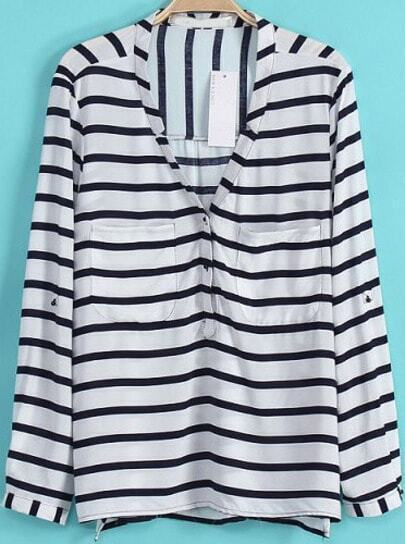 White and Navy V-neck Long Sleeve Contrast Strip Blouse