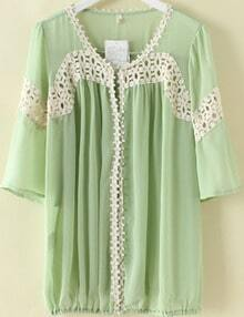 Green Half Sleeve Contrast Hollow Out Lace Chiffon Blouse