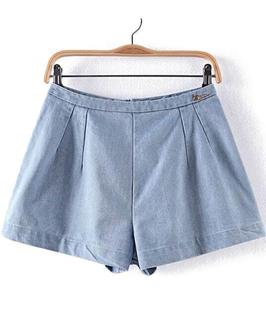Light Blue A-line Denim Shorts -SheIn(Sheinside)