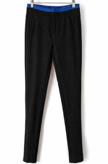 Black Contrast Blue Waist Pant
