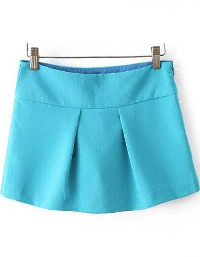 Blue High Waist Pleated Culottes