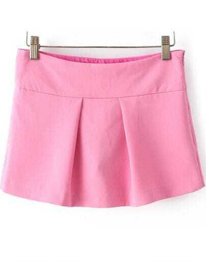 Pink High Waist Pleated Culottes