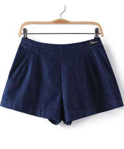 Dark Blue A-line Denim Shorts