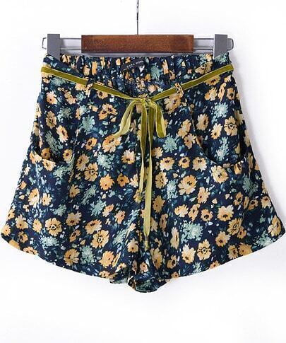 Blue Florals Print Drawstring Chiffon Shorts