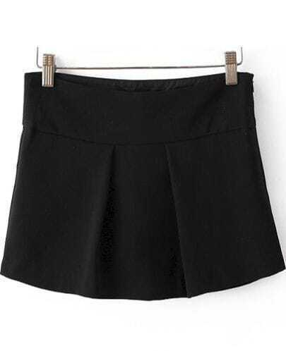 Black High Waist Pleated Culottes