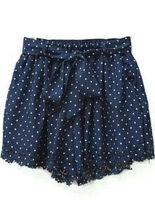 Navy Polka Dot Print Cut Out Hem Chiffon Shorts