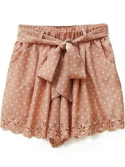 Pink Polka Dot Print Cut Out Hem Chiffon Shorts