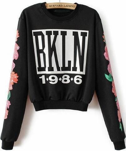 Black Long Sleeve BKLN 1986 Florals Crop Sweatshirt