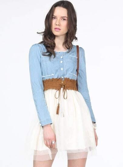 Blue White Long Sleeve Denim Contrast Mesh Yoke Dress