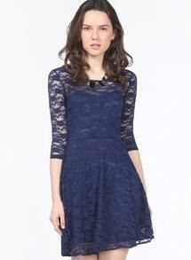 Blue Half Sleeve Belt Lace Skater Dress