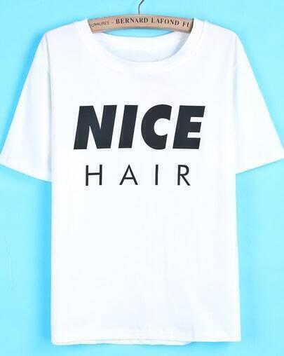 White Short Sleeve NICE Print Loose T-Shirt