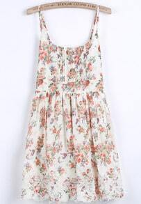 Beige Spaghetti Strap Floral Pleated Dress