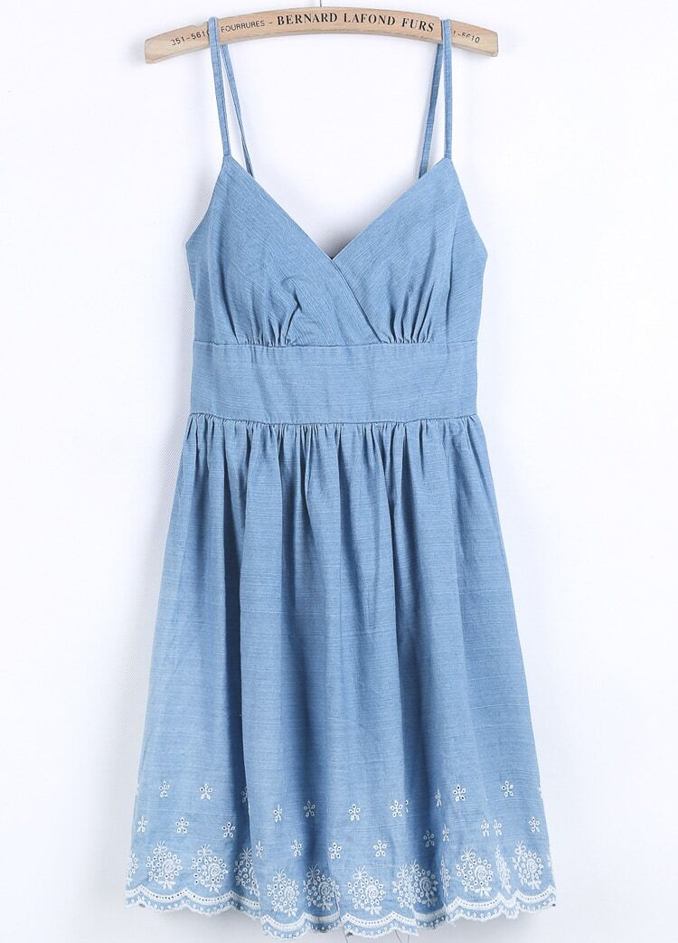 Blue spaghetti strap embroidered denim dress shein sheinside