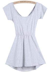 Grey Short Sleeve Backless Ruffle Dress