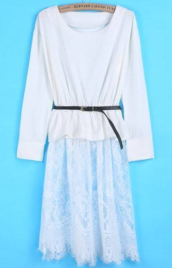White Long Sleeve Contrast Lace Hollow Dress