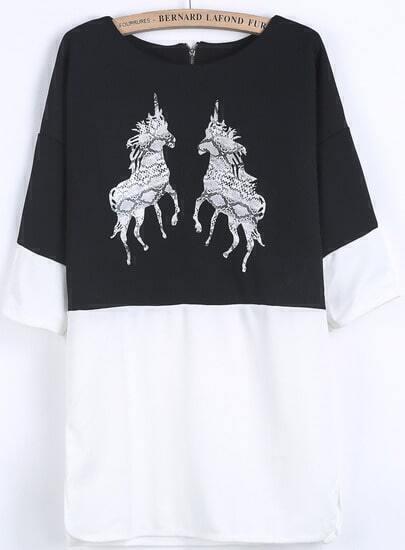 Black Long Sleeve Unicorn Print Loose Dress