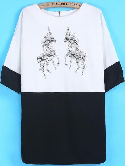 White Long Sleeve Unicorn Print Loose Dress