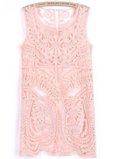 Pink Sleeveless Floral Crochet Lace Dress