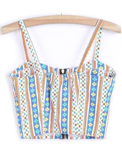 Blue Spaghetti Strap Geometric Print Vest