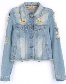 Light Blue Long Sleeve Bleached Ripped Crop Jacket