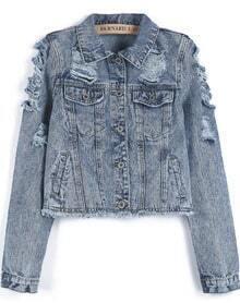 Blue Lapel Long Sleeve Ripped Crop Denim Jacket