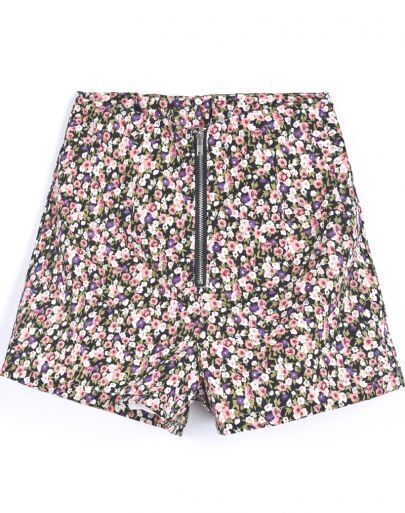 Blue Vintage Zipper Floral Shorts