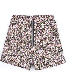 Blue Vintage Zipper Floral Shorts