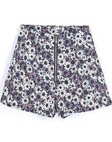 Black Vintage Zipper Floral Shorts