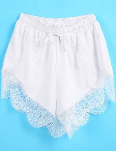 White Elastic Waist Contrast Lace Shorts
