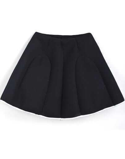 Black Simple Design Flare Skirt